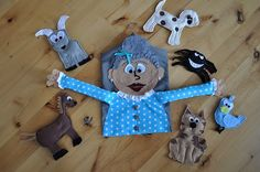 The little old lady who swallowed the fly and felt cut outs. Make from a dress shirt