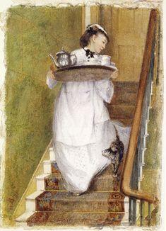Maidservant carrying a breakfast tray, Albert Goodwin, 1873 - London Museum