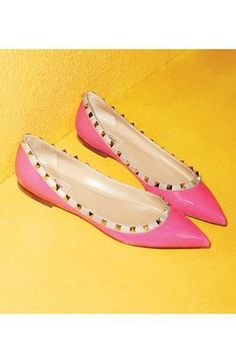 Pink studded ballet flat...love you Valentino!