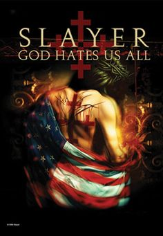 Slayer God Hates Us poster Flag Metal On Metal, Heavy Metal Rock, Heavy Metal Music, Metal Bands, Black Metal, Woodstock, Broly Ssj3, Hard Rock, Reign In Blood