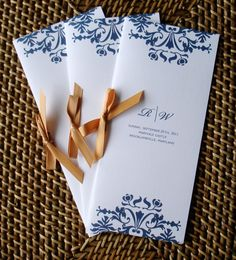 Brocade Wedding Programs  Navy blue and gold 2 by alamodebride, $2.25
