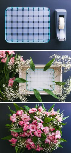 For some simple home decor this Easter season, try out this DIY flower arrangement in a crate. This vintage-inspired look is easy to achieve with some fresh flowers, a baking pan, and a small wooden crate, and it looks great as a dinner table centerpiece!