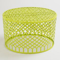 Green Landon Coffee Table - $199.99»  This airy, lightweight coffee table is ideal for the outdoors, and the bright lime green hue is sure to wake up your space