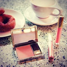 @esteelauder Quick morning makeup at breakfast today. Just a little blush and gloss. #beauty