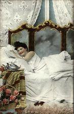 RISQUE Beautiful Woman Seductive Pose Antique Bed c1910 Postcard