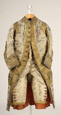 Mens Ensemble (jacket, waistcoat and breeches) late 1700's. Italian in origin and made of silk. See other images of it at http://www.metmuseum.org/Collections/search-the-collections/80005338#  note - the website shows this as 17th century(aka 1600s) but I think that was a typo and should have been 18th century (aka 1700s) This suit is in the style of the later part of the 1700's.