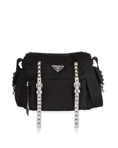 b873ae1315de Get free shipping on Prada Prada Black Nylon Messenger Bag at Neiman  Marcus. Shop the