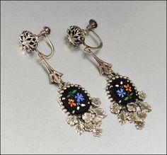 Silver Glass Enamel Flower Art Deco Earrings Dangle by boylerpf, $40.00