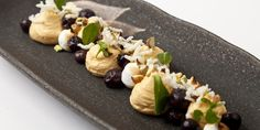 Whipped sea buckthorn with burnt meringue, crispy rice, blueberries and tonka bean gastrique - Paul Foster Light Desserts, Fun Desserts, Dessert Recipes, French Desserts, Fruit Recipes, Dessert Ideas, Great British Chefs, Just Cooking, Cooking Tips