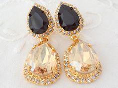 Champagne and black Chandelier earrings 14k by EldorTinaJewelry, $84.00