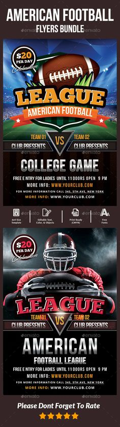 Football Flyer Pinterest Flyer template, Template and Fonts