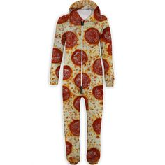 A Pizza Belovesie jumpsuit from Beloved Shirts. When a pepperoni pizza slice just doesn't cut it.