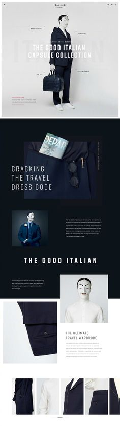 The Good Italian Capsule Collection. Functionality should not be an excuse to sacrifice dressing with style even when on board a plane, while queueing at the departure gate or upon arriving at the hotel after a long-haul flight. Web Layout, Layout Design, Event Design, App Design, Webdesign Inspiration, Concept Web, Fashion Banner, Travel Dress, Newsletter Design
