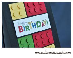 LEGO Geburtstagskarte für Moritz Stampin & # UP! Birthday card with Bring on the cake Lego card Boy Cards, Kids Cards, Cute Cards, Lego Birthday Cards, Birthday Cards For Men, Lego Card, Karten Diy, Hand Stamped Cards, Card Sketches