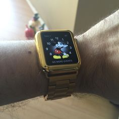 New #applewatch band #gold #shiny #fancyasfuck #mickeymouse #mouseears #instagay by dapprazfck