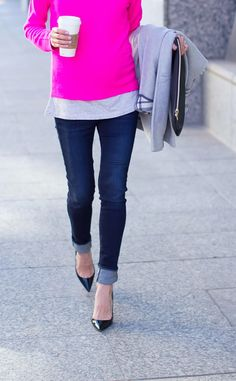 Pretty pink sweater, jeans, & heels