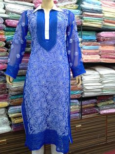 Collar Neck Georgette Kurti  [*Sfq*]   ☆  Lucknow Chikan Haritage  ☆