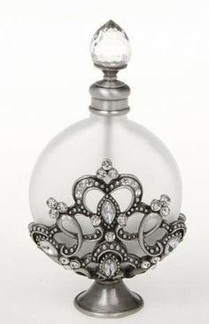 Tendance parfums ART DECO PEWTER DIAMOND JEWEL FLOWER PERFUME BOTTLE JAR | eBay