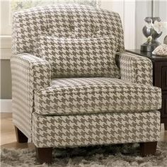 Signature Design by Ashley Donella Contemporary Houndstooth Accent Chair with Track Arms - Marlo Furniture - Upholstered Chair Alexandria, Virginia, Forestville, Laurel, Rockville, Maryland, Washington DC