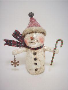 Papier Mache Folk Art Snowman with by papiermoonprimitives on Etsy, $38.00