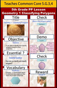 5th Grade Geometry 1 - Classifying Polygons teaches students how to use the properties of polygons to classify them into groups.  Students learn to identify polygons according to the number of sides they have.  They also learn to identify which polygons are regular and which are not regular.  Click Visit to see product.