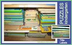photo of: Puzzles Stored on Puzzle Rack and Marked with 'title' of Puzzles