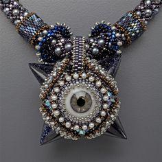 Blue Goldstone Eye Mace Necklace