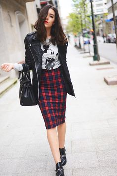 check print tube midi skirt