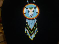 buffalo skull necklace native american beadwork by deancouchie