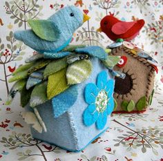 Felted birds and birdhouses.