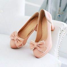 Womens Lolita Block High Heel Bowknot Pumps Court Dating Dance Walking Shoes NEW