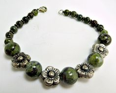 Dragon's Blood Jasper & Silver Plated Flower by BeadsGalore2, $18.00