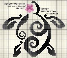 Grille gratuite point de croix : Petite tortue à la fleur - Passion creative