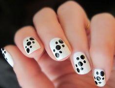 Polka Dots Black White Nail Design Ideas.