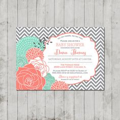 Bridal, Baby Shower Invitation -  PRINTABLE INVITATION DESIGN -  Coral, Mint on Etsy, $10.00