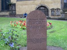 """Edinburgh - the gravestone of Greyfriars Bobby, who died 14th January 1872 aged 16 years, Bobby was the faithful little dog who refused to leave the grave of his master, John Gray - """"Auld Jack"""".  Bobby's tombstone reads """"let his loyalty and devotion be a lesson to us all.""""    The tombstone was erected by the Dog Aid Society of Scotland & unveiled by H.R.H. The  Duke of Gloucester on 13th May 1881"""