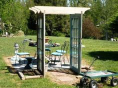 Exceptional modern french country decor are offered on our website. Read more and you wont be sorry you did. Modern French Country, French Country House, French Country Decorating, Porches, Door Arbor, Outdoor Spaces, Outdoor Living, Flea Market Gardening, Garden Arbor