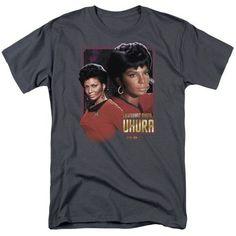 Star Trek/Lieutenant Uhura - S/S Adult 18/1 - Charcoal - Lg, Black