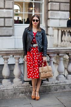 Without the motorcycle jacket, this dress could make you seem like Minnie Mouse.