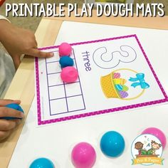 Free Printable Easter Play Dough Counting Mats for Preschool. #preschool