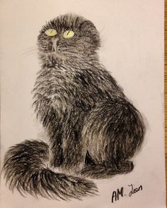The cat, Tussetroll, drawn by Anne-May Lien