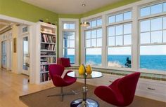 A sophisticated readers lounge with a view.