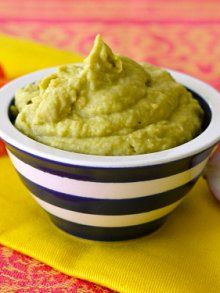 Avocado Hummus   Ingredients  1 15 ounces can chick peas or garbanzo beans, drained & rinsed  1 medium avocado, pitted  1 garlic clove  2 tablespoons lemon juice  1/2 teaspoon kosher salt  1/4 cup olive oil  1 tablespoon tahini  Preparation  1. Place all of the ingredients in a food processor and puree.  2. Serve with desired accompaniments  @Vanna Jones