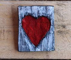 Paper Mache Brooch Paper Heart Brooch Red Heart Brooch by irineART