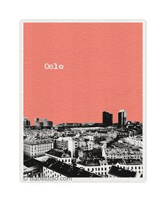 Oslo Norway Art Print -  World Traveler Series Pop Art Skyline Poster - Available in 56 Colors - NO025