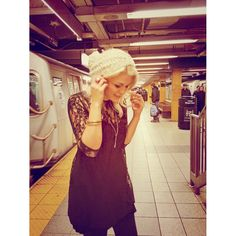 Subway fashion - www.theperfectlittlelife.com //lace + knitted Pom beanie