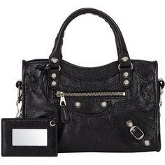 Balenciaga Arena Giant 12 Mini City ($1,395) ❤ liked on Polyvore featuring bags, handbags, purses, balenciaga, black, colorless, city bag, hand bags, clear hand bags and studded handbags