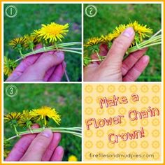 I have tried and never gotten it right, Try this Flower Chain crown Tutorial plus more summer bucket list items for kids on Frugal Coupon Living.