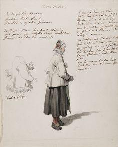 Morakulla. Akvarell av J.G Sandberg med texter och detalj av tröja