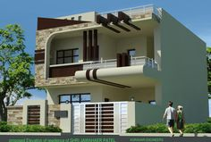 Single floor house outer design fantastic house front elevation ideas of impressive outer elevations modern elevation . House Outer Design, House Front Design, Modern House Design, Indian Home Design, Independent House, Building Elevation, House Elevation, Style At Home, Bungalow Haus Design